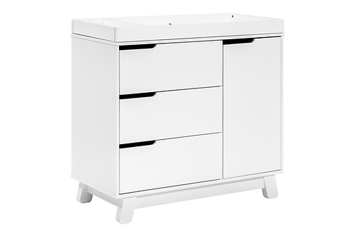 (In Stock) Hudson 3-Drawer Dresser with Removable Changing Tray (White)