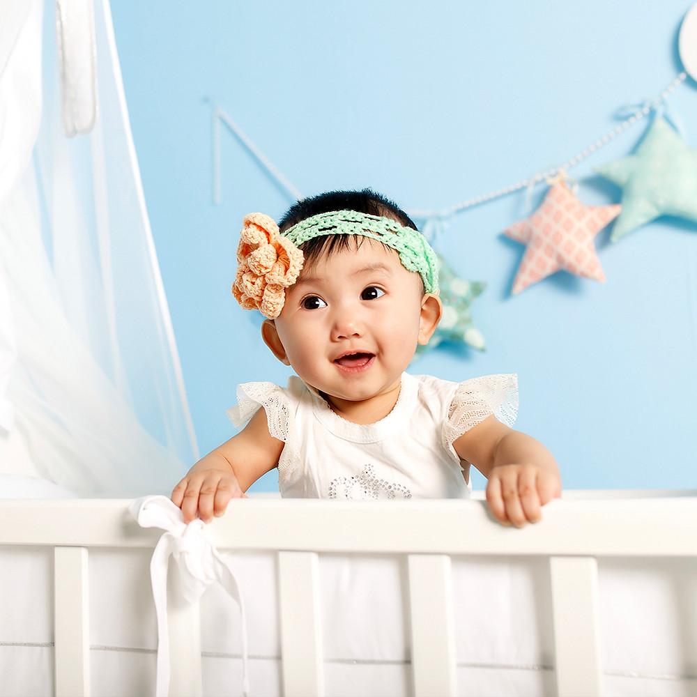 Happy baby safe inside crib