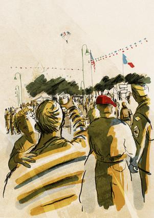 Paratroopers descend into Sainte Mere-Eglise
