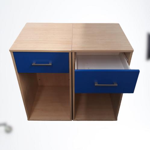 Side Table w/ Blue Draw on Wheels