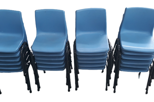 Kids size mini blue stackable chairs