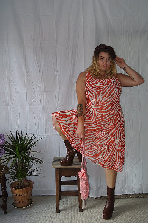 Womens Ladies Vintage Red and White Zebra Print Chiffon Midi Dress Size 16.