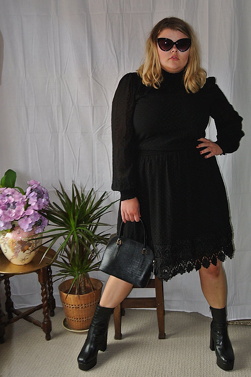 Womens Ladies Black Chiffon Spot Crochet Lace Mini Dress
