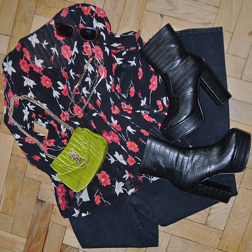 BLACK AND RED CHIFFON BLOUSE