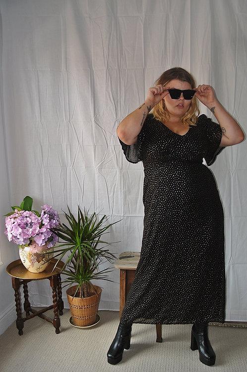 Womens Ladies Black Chiffon Gold Metallic Polka Dot Maxi Dress
