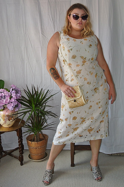 Womens Ladies Cream Burn Out Floral Midi Dress with Peach Orange Satin Lining.