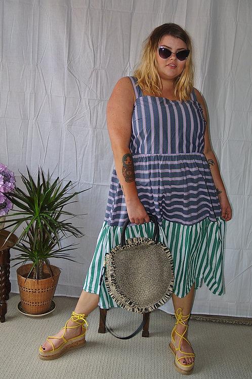 Womens Ladies Cotton Stripe Maxi Dress.