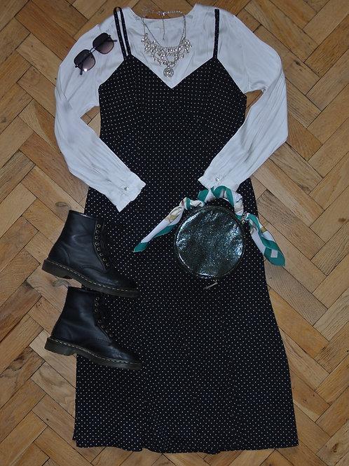 BLACK AND WHITE POLKA DOT MAXI DRESS.