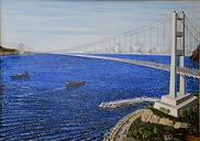 ponte sullo stretto di messina (2002) - olio su tela - cm 70 x 50