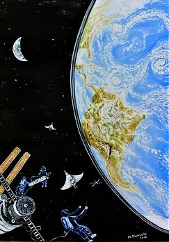 La ragazza nello spazio (2019) - olio su tela - cm 50x70