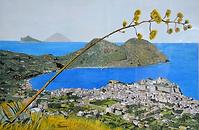 panorama di lipari (1989) - tempera su cartoncino - cm 70 x 50