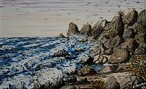 la scogliera (1992) - tempera su cartoncino - cm 40 x 30