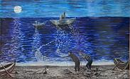 pesca di notte dalla spiaggia (1992) - tempera su cartoncino - cm 36 x 27