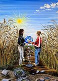 Salviamo la terra (2020) - olio su tela - cm 50 x 70