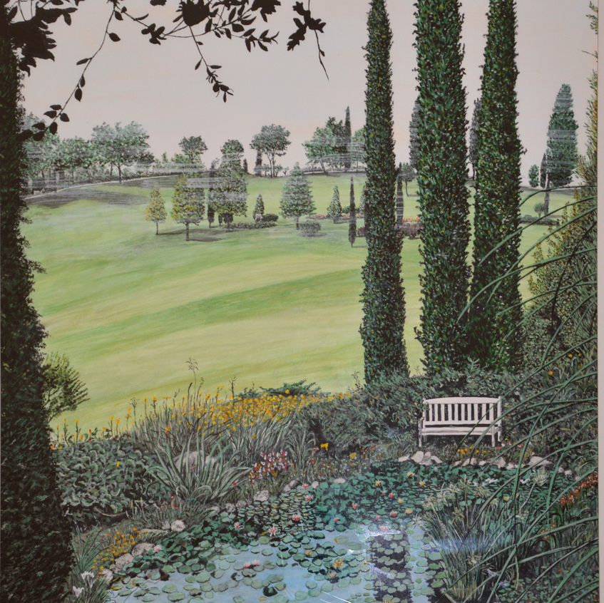 giardino inglese (1992) - tempera su cartoncino - cm 50 x 70