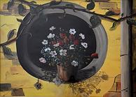 Vaso di fiori sull'oblò (1998) - olio su tela - cm 70 x 50