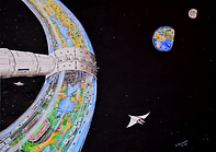 Isola di vita nello spazio (2016) - olio su tela - cm 70 x 50