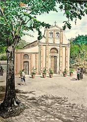Visita al Santuario di Maria SS Della Catena (2020) cm 50 x 70 - olio su tela