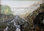 ponte sulla fiumarella a catanzaro (1994) - olio su tela - cm 70 x 50