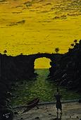 tramonto (1992) - tempera su cartoncino - cm 50 x 70
