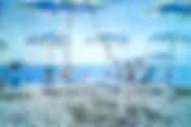 spiaggia a catanzaro lido, lido del 2000 (2017) - olio su cartoncino - cm 24 x 18 - cartolina FRONTE