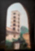 monastero di santa scolastica (1991) - tempera su cartoncino - cm 50 x 70