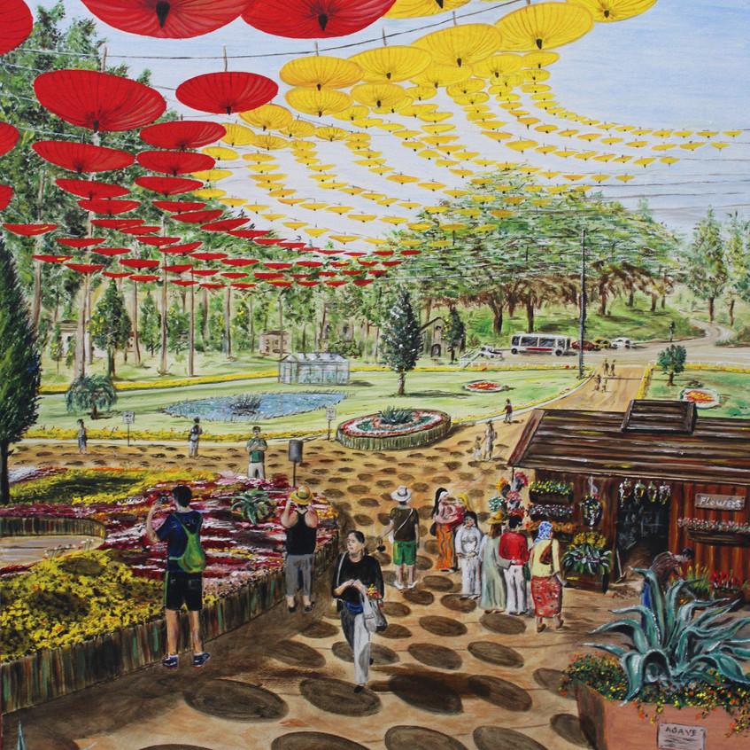 Visita al giardino botanico (2018) olio su tela - cm 50 x 70