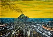 tramonto sullo stromboli (1996) - olio su tela - cm 70 x 50