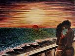 Amanti nel tramonto (2018) - olio su tela