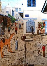 passeggiata a sidi bou said (2005) - olio su tela - cm 50 x 70
