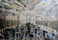 temporale sugli champs elysee (1997) - olio su tela - cm 70 x 50