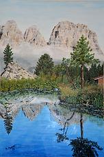 paesaggio alpino (1992) - tempera su cartoncino - cm 50 x 70