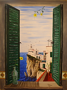 vista dalla finestra, la chiesetta (2003) - olio su tela - cm 50 x 70