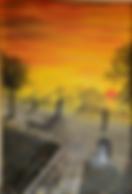 innamorati al tramonto (1994) - olio su tela - cm 50 x 70