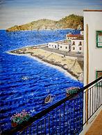 vista dal balcone sulla spiaggia (2013) - olio su tela - cm 50 x 70
