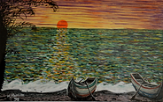Spiaggia all'alba (1992) - tempera su cartoncino - cm 35 x 27