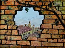 panorama dal buco nel muro (1995) - olio su tela - cm 70 x 50