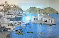 il porto di Lipari (1991) - tempera su cartoncino - cm 70 x 50