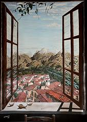 Vista dalla finestra, le montagne (1992) - tempera su cartoncino - cm 100 x 80