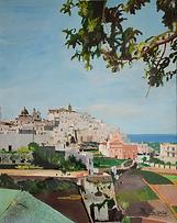 panorama di ostuni (1988) - tempera su cartoncino - cm 50 x 70