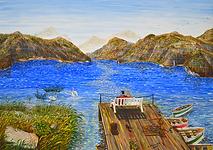 la panchina sul lago (2017) - olio su tela - cm 70 x 50
