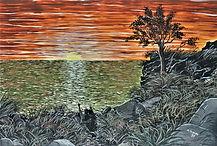 innamorati ne tramonto (1993) - tempera