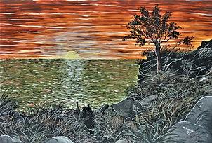 innamorati al tramonto (1993) - tempera