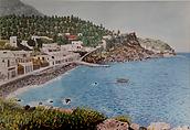 panorama di panarea (1990) - tempera su cartoncino - cm 50 x 40