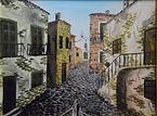centro storico piccolo (1995) - olio su tela - cm 40 x 30