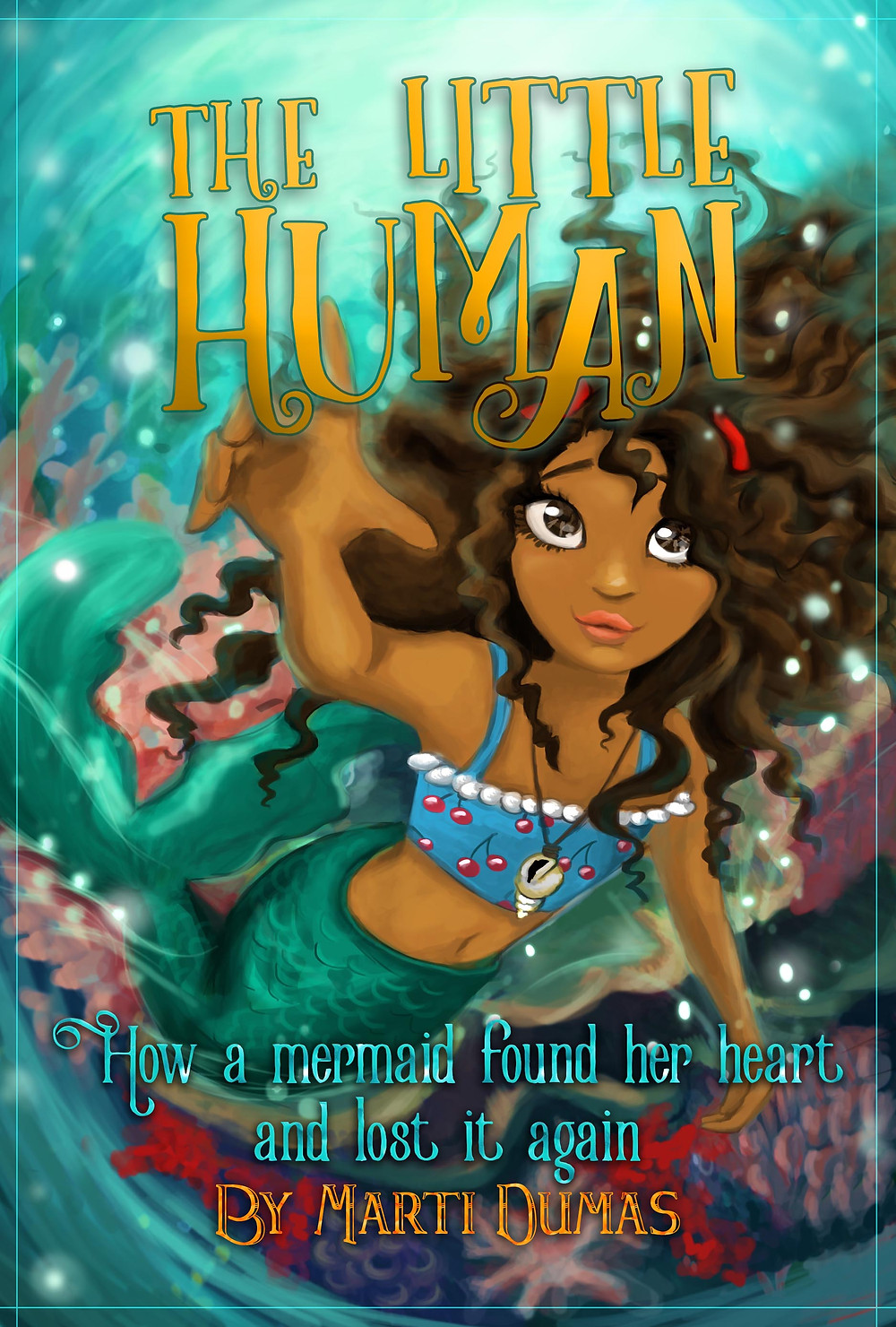A young mermaid with brown skin, large brown eyes, and dark brown hair