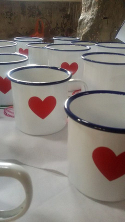 hot chocolate in enamel mugs