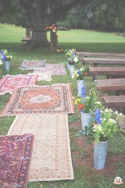 vintage wedding aisle rugs