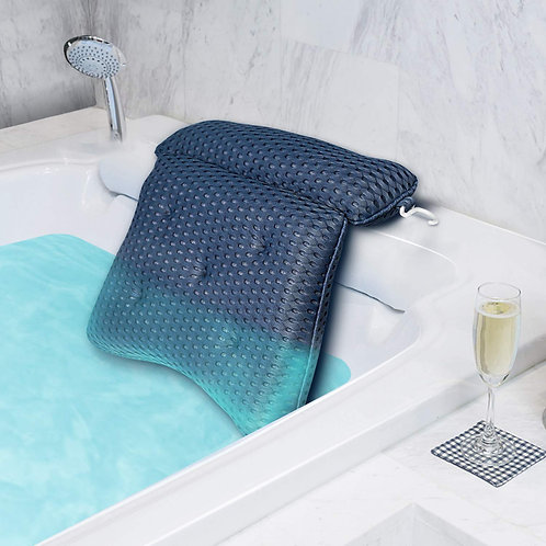 Bath Pillow,4D Air Mesh Bathtub Pillow with 7 Suction Cups-Blue