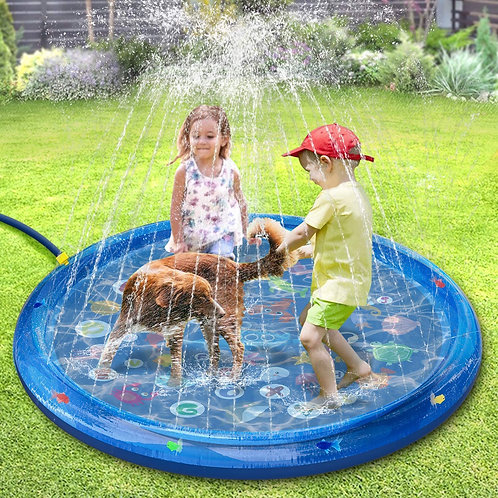 Splash Mat, Water Play Mat with Floating Fish Around, Inflatable Sprinkler for K